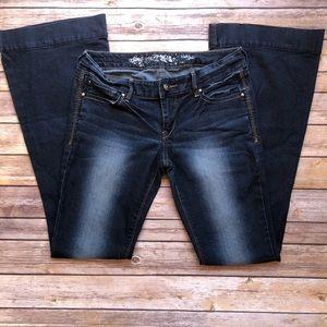 Express dark wash flare jeans size 4